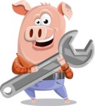 Farm Pig Cartoon Vector Character AKA Pigasso the Creative Pig - Repair