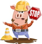 Farm Pig Cartoon Vector Character AKA Pigasso the Creative Pig - Under Construction 1