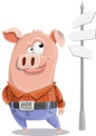 Farm Pig Cartoon Vector Character AKA Pigasso the Creative Pig - Crossroad