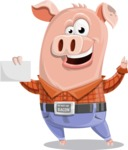 Farm Pig Cartoon Vector Character AKA Pigasso the Creative Pig - Sign 1