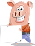Farm Pig Cartoon Vector Character AKA Pigasso the Creative Pig - Sign 3