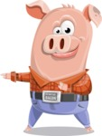 Farm Pig Cartoon Vector Character AKA Pigasso the Creative Pig - Point