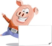 Farm Pig Cartoon Vector Character AKA Pigasso the Creative Pig - Sign 7