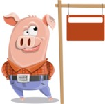 Farm Pig Cartoon Vector Character AKA Pigasso the Creative Pig - Sign 9