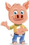 Cute Piglet Cartoon Vector Character AKA Paul the Little Piglet - Point 2