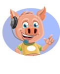 Cute Piglet Cartoon Vector Character AKA Paul the Little Piglet - Shape 3