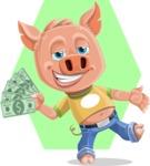 Cute Piglet Cartoon Vector Character AKA Paul the Little Piglet - Shape 6