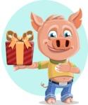 Cute Piglet Cartoon Vector Character AKA Paul the Little Piglet - Shape 8