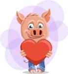 Cute Piglet Cartoon Vector Character AKA Paul the Little Piglet - Shape 9