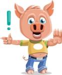 Cute Piglet Cartoon Vector Character AKA Paul the Little Piglet - Direct Attention
