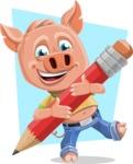 Cute Piglet Cartoon Vector Character AKA Paul the Little Piglet - Shape 10