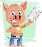 Cute Piglet Cartoon Vector Character AKA Paul the Little Piglet - Shape 11