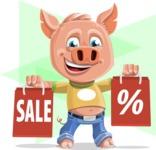 Cute Piglet Cartoon Vector Character AKA Paul the Little Piglet - Shape 12