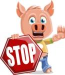 Cute Piglet Cartoon Vector Character AKA Paul the Little Piglet - Stop