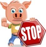 Cute Piglet Cartoon Vector Character AKA Paul the Little Piglet - Stop 2