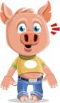 Cute Piglet Cartoon Vector Character AKA Paul the Little Piglet - Stunned
