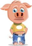 Cute Piglet Cartoon Vector Character AKA Paul the Little Piglet - Sad