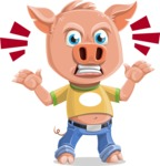 Cute Piglet Cartoon Vector Character AKA Paul the Little Piglet - Angry