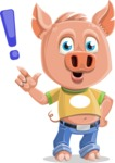 Cute Piglet Cartoon Vector Character AKA Paul the Little Piglet - Attention