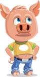 Cute Piglet Cartoon Vector Character AKA Paul the Little Piglet - Roll Eyes