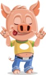Cute Piglet Cartoon Vector Character AKA Paul the Little Piglet - Silly Face