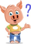 Cute Piglet Cartoon Vector Character AKA Paul the Little Piglet - Confused