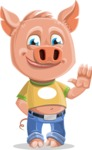 Cute Piglet Cartoon Vector Character AKA Paul the Little Piglet - GoodBye