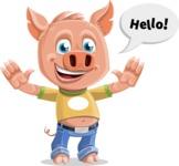Cute Piglet Cartoon Vector Character AKA Paul the Little Piglet - Hello