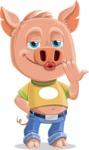 Cute Piglet Cartoon Vector Character AKA Paul the Little Piglet - Making Face