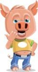 Cute Piglet Cartoon Vector Character AKA Paul the Little Piglet - Bored