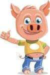 Cute Piglet Cartoon Vector Character AKA Paul the Little Piglet - Thumbs Up