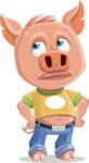Cute Piglet Cartoon Vector Character AKA Paul the Little Piglet - Bored 2