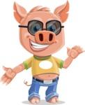 Cute Piglet Cartoon Vector Character AKA Paul the Little Piglet - Sunglasses