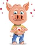 Cute Piglet Cartoon Vector Character AKA Paul the Little Piglet - Show Love