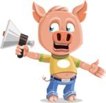 Cute Piglet Cartoon Vector Character AKA Paul the Little Piglet - Loudspeaker