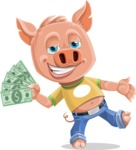 Cute Piglet Cartoon Vector Character AKA Paul the Little Piglet - Show me the Money