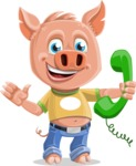 Cute Piglet Cartoon Vector Character AKA Paul the Little Piglet - Support 2