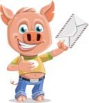 Cute Piglet Cartoon Vector Character AKA Paul the Little Piglet - Letter