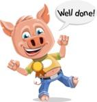 Cute Piglet Cartoon Vector Character AKA Paul the Little Piglet - Ribbon