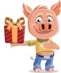 Cute Piglet Cartoon Vector Character AKA Paul the Little Piglet - Gift