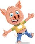 Cute Piglet Cartoon Vector Character AKA Paul the Little Piglet - Wave