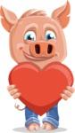 Cute Piglet Cartoon Vector Character AKA Paul the Little Piglet - Love