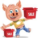 Cute Piglet Cartoon Vector Character AKA Paul the Little Piglet - Sale