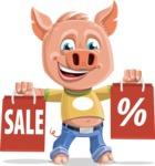 Cute Piglet Cartoon Vector Character AKA Paul the Little Piglet - Sale 2