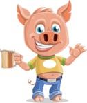 Cute Piglet Cartoon Vector Character AKA Paul the Little Piglet - Beer