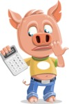 Cute Piglet Cartoon Vector Character AKA Paul the Little Piglet - Calculator