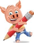 Cute Piglet Cartoon Vector Character AKA Paul the Little Piglet - Pencil