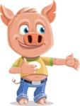 Cute Piglet Cartoon Vector Character AKA Paul the Little Piglet - Showcase