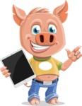 Cute Piglet Cartoon Vector Character AKA Paul the Little Piglet - iPad 1