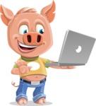 Cute Piglet Cartoon Vector Character AKA Paul the Little Piglet - Laptop 1